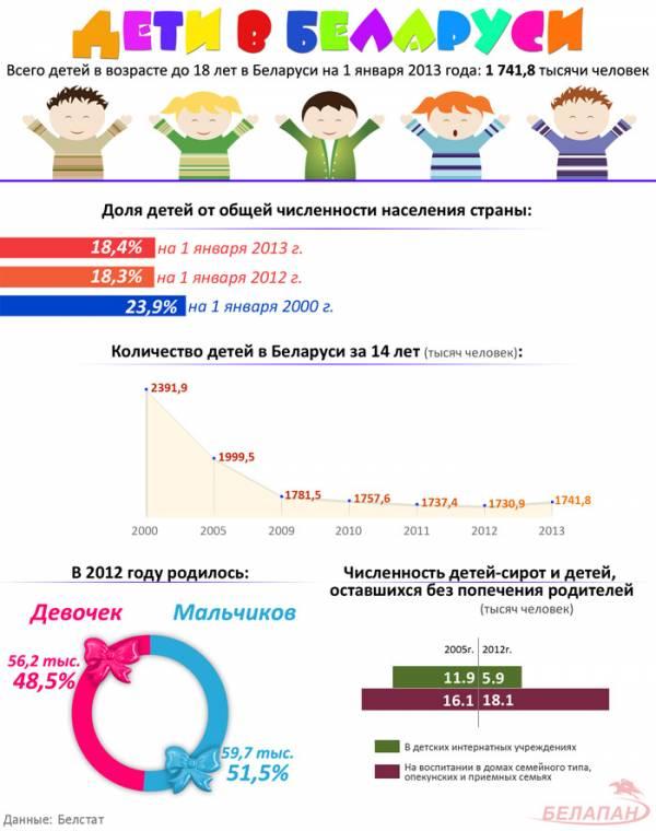 Численность детей в Беларуси на 1 января 2013 года составила 1 млн. 741,8 тыс. человек