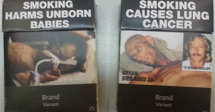 Так выглядят упаковки сигарет в Австралии, независимо от бренда
